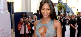 Naomi Campbell wore a custom made Roberto Cavalli evening dress