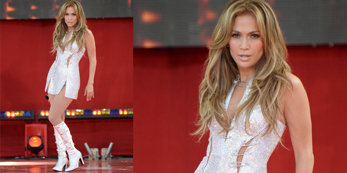 Jennifer Lopez in custom Versus Versace - 'Good morning America' performance