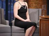 Jennifer Lawrence wearing Mugler ss2016 on late show Seth Meyers